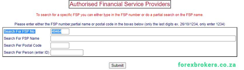 FSCA FSP search