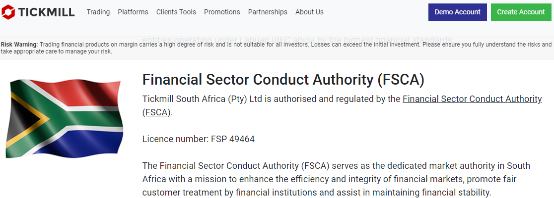 Tickmill FSCA regulation